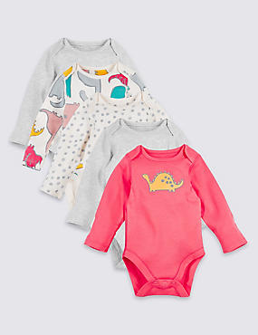 5 Pack Pure Cotton Dino Print Bodysuits