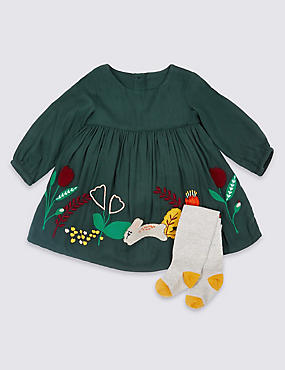 2 Piece Applique Dress with Tights