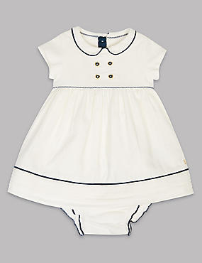 Pure Cotton Woven Baby Dress with Knickers