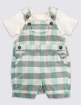 2 Piece Pure Cotton Bodysuit & Checked Bibshort Dungaree Outfit