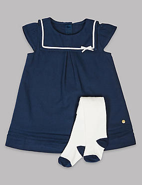2 Piece Sailor Baby Dress with Tights