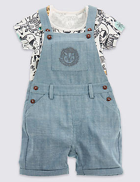 2 Piece Pure Cotton Chambray Bodysuit & Dungaree Outfit