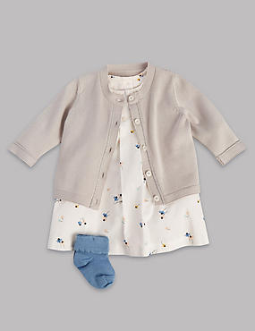 3 Piece Pure Cotton Dress with Cardigan & Socks