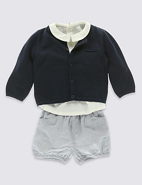 3 Piece Pure Cotton Shirt, Striped Shorts & Cardigan Outfit