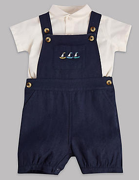 2 Piece Cotton Rich Bibshort & Shirt Outfit with Linen