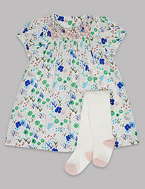 2 Piece Baby Floral Dress with Tights