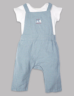 2 Piece Pure Cotton Dungarees & Bodysuit Outfit
