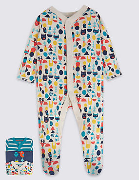 3 Pack Pure Cotton Wood Sleepsuit