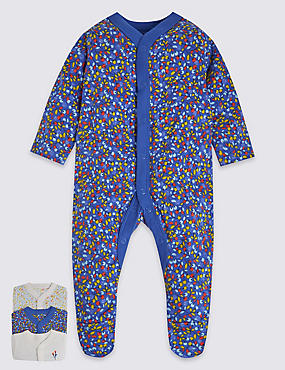 3 Pack Pure Cotton Assorted Sleepsuits