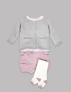 4 Piece Cotton Blouse and Cord Shorts with Cardigan and Tights