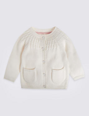 Cotton Rich Cardigan with Wool
