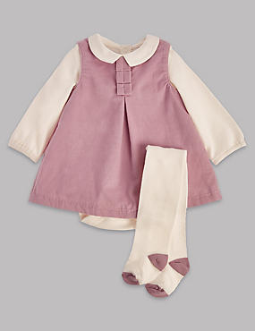 3 Piece Cord Pinny and Bodysuit with Tights