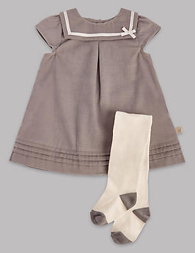 2 Piece Cord Sailor Dress with Tights