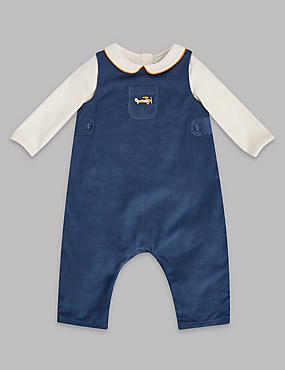 2 Piece Cord Dungaree and Bodysuit Outfit