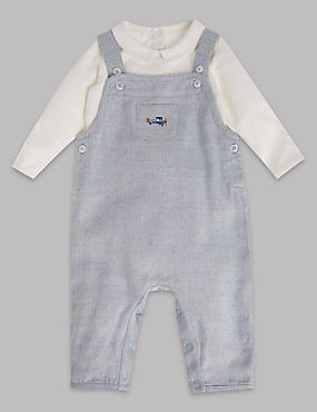 2 Piece Herringbone Dungaree and Bodysuit Outfit