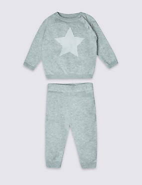 2 Piece Pure Cotton Star Print Knitted Outfit