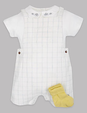 3 Piece Cotton Rich Dungarees Outfit