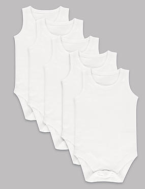 5 Pack Pure Superfine Cotton Bodysuits
