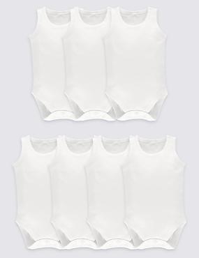 7 Pack Unisex Pure Cotton Bodysuits, WHITE, catlanding
