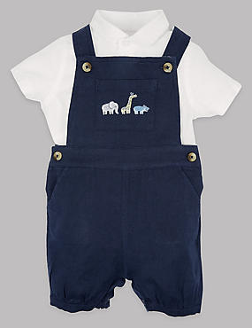 2 Piece Cotton Rich Shirt & Dungarees Outfit