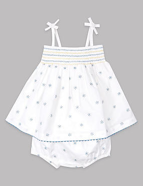 2 Piece Pure Cotton Dress with Knickers Outfit
