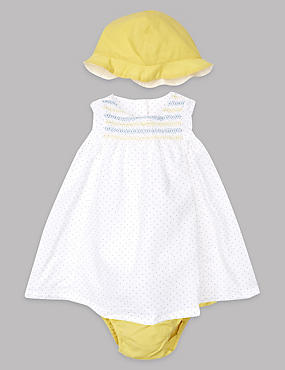 3 Piece Pure Cotton Dress & Knickers with Hat Outfit