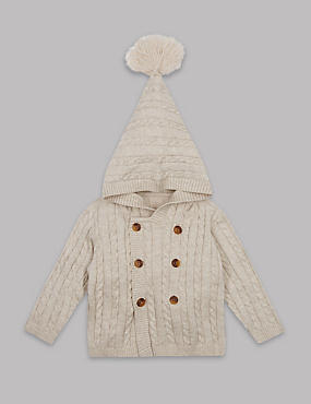 Pure Cotton Cable Knit Hooded Cardigan