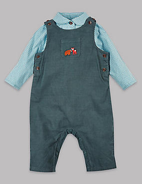 2 Piece Cord Dungaree & Woven Bodysuit Outfit