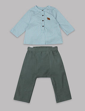 2 Piece Gingham Shirt & Trousers Outfit