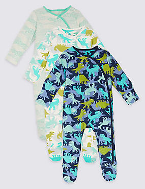 3 Pack Pure Cotton Dinosaur Sleepsuits