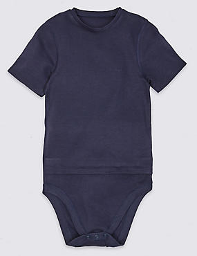 Pure Cotton Bodysuit (3-16 Years), INDIGO, catlanding