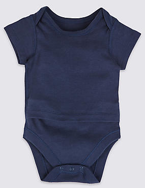 Pure Cotton Short Sleeve Bodysuits with Popper Tummy (0-3 Years)