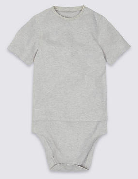 Pure Cotton Bodysuit (3-16 Years), GREY MARL, catlanding
