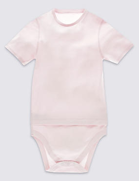 Pure Cotton Short Sleeve Bodysuit with Popper Tummy (3-16 Years)
