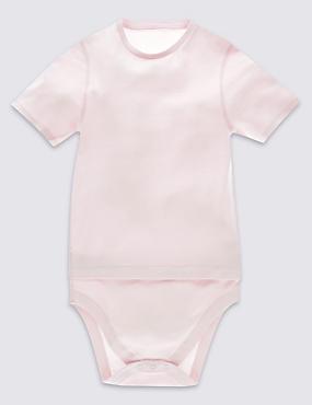 Pure Cotton Bodysuit (3-16 Years), PINK, catlanding