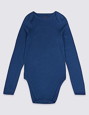 Pure Cotton Bodysuit (3-16 Years), BLUE MIX, catlanding