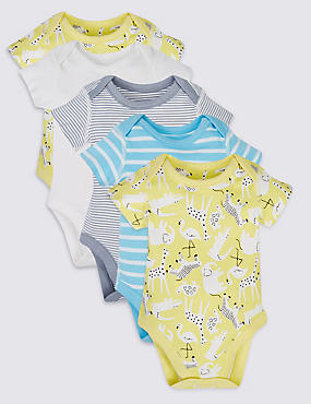 5 Pack Pure Cotton Short Sleeve Bodysuits