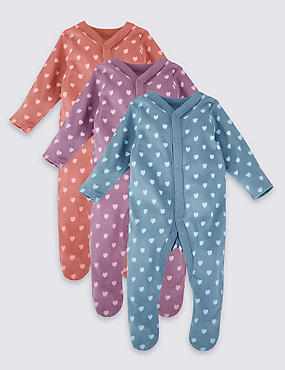 3 Pack Pure Cotton Heart Sleepsuits