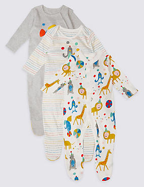 3 Pack Animal Party Pure Cotton Sleepsuits