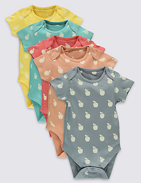 5 Pack Apple Print Cotton Bodysuits