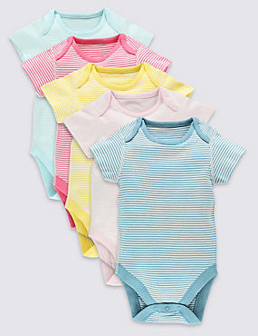 5 Pack Candy Stripe Bodysuits (0-3 Years)