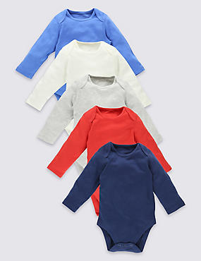 5 Pack Plain Colour Pure Cotton Bodysuits, MULTI, catlanding