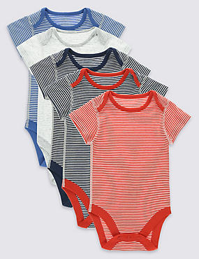 5 Pack Nautical Stripe Cotton Bodysuits