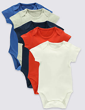 5 Pack Pure Cotton Bodysuits (0- 3 Years)