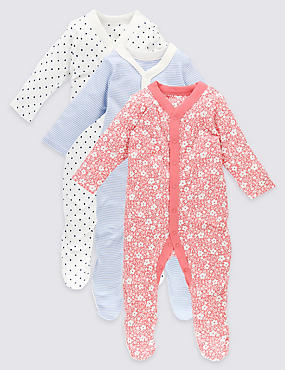 3 Pack Pure Cotton Sleepsuits, RED MIX, catlanding