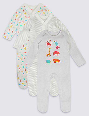 3 Pack Geometric Animal Print Cotton Sleepsuits