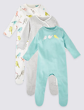 3 Pack Pure Cotton Bird Sleepsuits