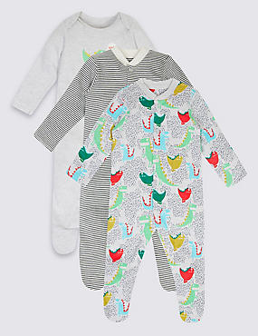 3 Pack Dino Cotton Sleepsuits