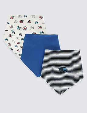 3 Pack Pure Cotton Truck Print Dribble Bibs