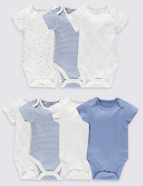 7 Pack Pure Cotton Baby Bodysuits